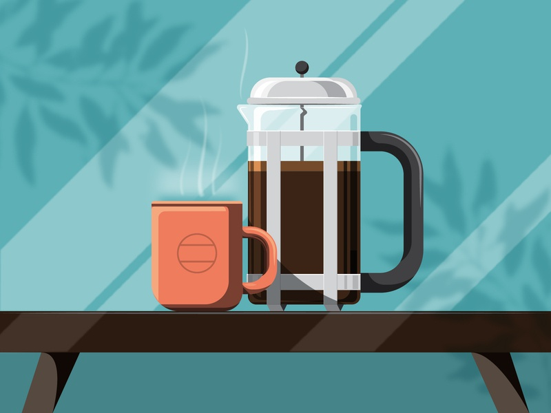 French Press Sunday illustrator vector color table brown teal orange mug design illustration coffee