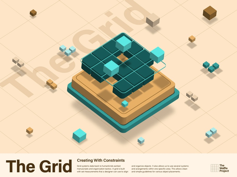 The Grid: A Rebound tan teal green typography color illustration vector illustration vector art 8px waffle vector grid layout