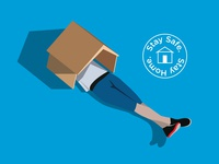 Stay Safe. Stay Home. minimal simple adobe laying down illustration vector shoes blue house home head stay home