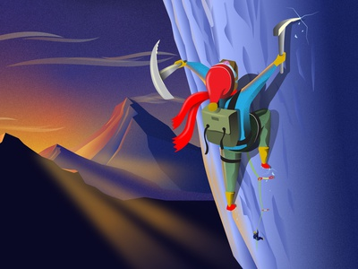 Ice Climber - Rebound sunrise sunset mountain climbing ice climbing alpinist alpine mountaineering vector illustration art illustration