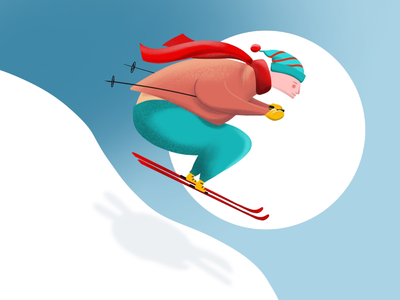 The Skier downhill scarf winter color landing ui skier procreate illustration