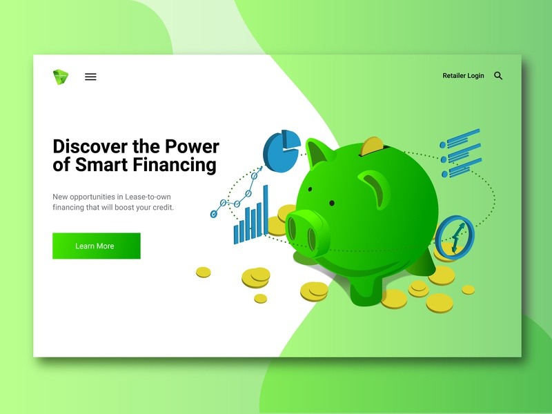 Greenwave Web Mockup graphic smart discover gradient online graph chart pig ui web illustration vector illustrator finance piggy bank green