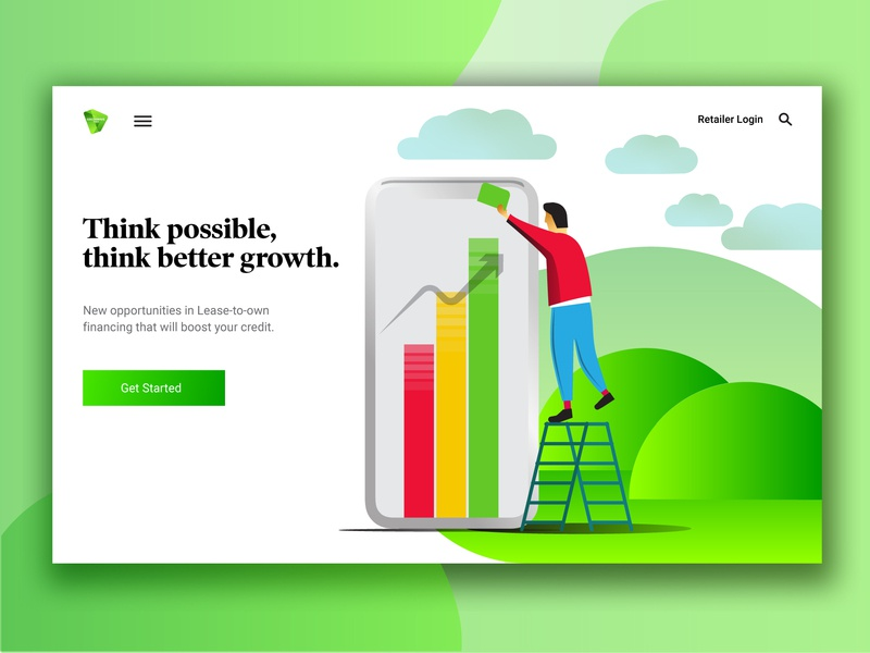 Greenwave Consumer Page web color landing landing page desktop design desktop gradient stack iphone think possible clouds hills green ui ux vector design illustration