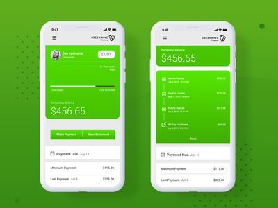 Greenwave App finance green adobe xd payment vector illustrator iphone ux ui statement bill pay balance app mobile design