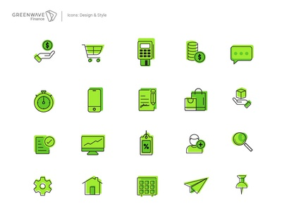 Icons Set Greenwave Finance icon design adobe illustrator illustrator vector icon design iconography icons pack iconset web icons green icons