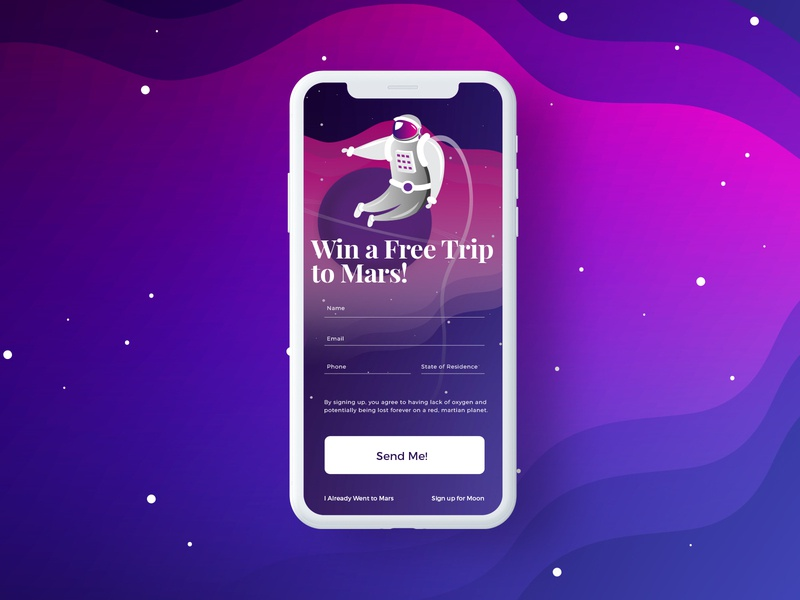 Trip to Mars: Daily UI Challenge 01 signup register app mars spaceman gradient color digital illustrator vector dailyuichallenge
