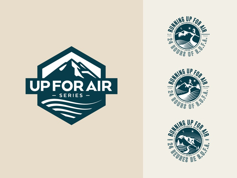 Running Up For Air Logo and Badges typography icon illustrator running branding badge logo illustration vector design