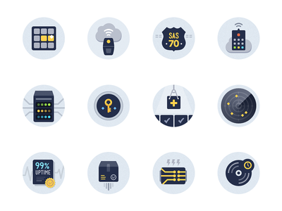 Icon Feature Set feauture icons iconography illustration custom vault design lightning hosting key cloud