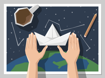 The Storyteller paper boat pencil constellation earth stars coffee exploration journey global distributed illustration