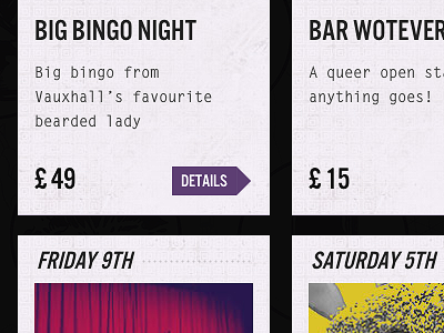 What's coming up? events cabaret bingo bar frankenstein illustration tavern london royal vintage texture screenshot css