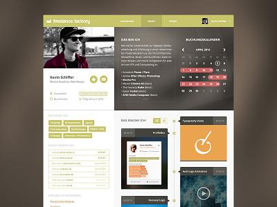Freelance Factory Profile Redesign [WIP] webdesign flat graphic web app design profile calendar timeline tags ui