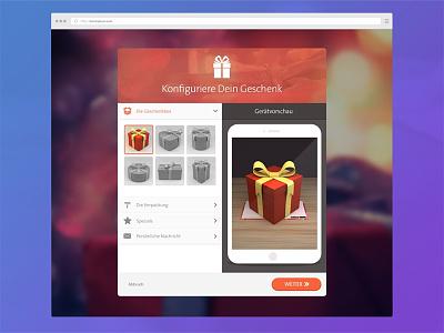 Virtual Gift Configurator Concept configure settings gift present animation ui ux menu options flat
