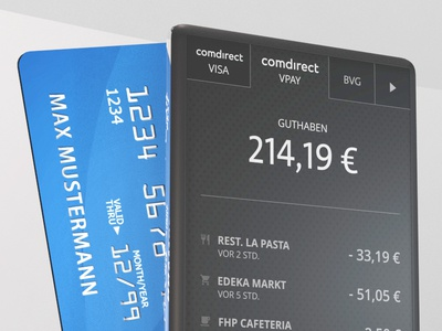 Sneaky McPeeky of an Interface Concept e-ink card finance banking interface mockup device product