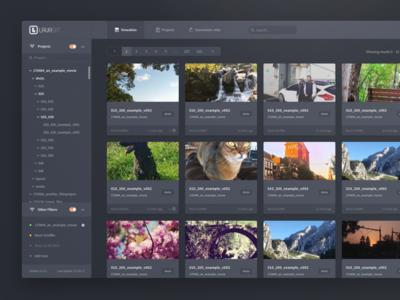 Screendesign Concept for VFX Workflow App searchbar hierarchy tree cards navigation pagination filter webapp sidebar dark video ui
