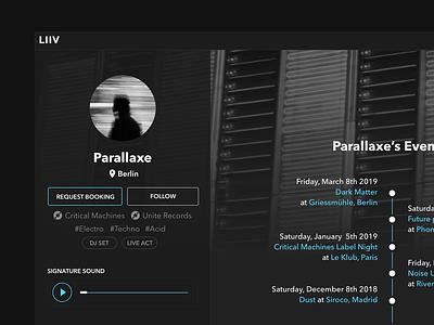 DJ Booking Platform Concept user interface ux ui djs music techno web app dark webapplication platform