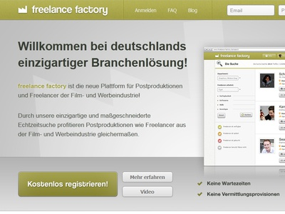 Freelance Factory Launch startup design webdesign ux user interface landing page sales page product page webpage profile freelancer germany freelance factory photoshop css3 html5 user experience go live