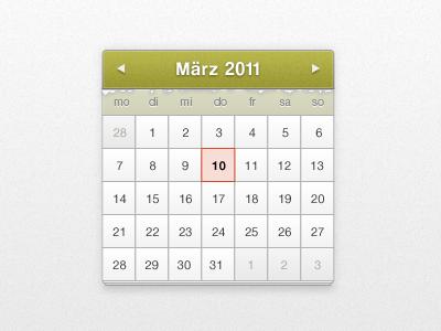 Calendar Widget calendar date widget buttons ui user interface webdesign photoshop jquery datepicker