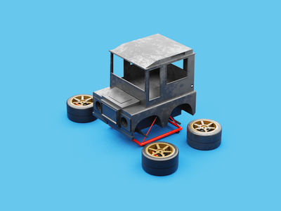 Defender 90 chibi car mini car landrover defender choro q qscale toys diecast defender design 3d illustration 3d design 3d 3d model concept 4x4 car landrover