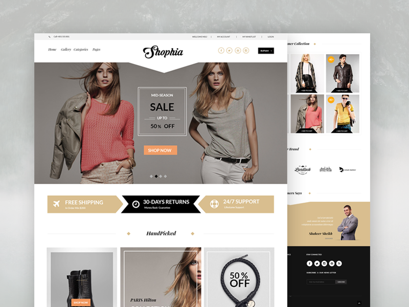 Dribbble shopia psd