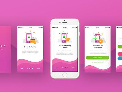 Exploration Screen Intro mobile app budgeting finance ux ui finansia