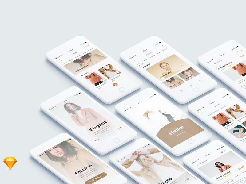Exploration Shopping App clean minimal ios ui mobile web
