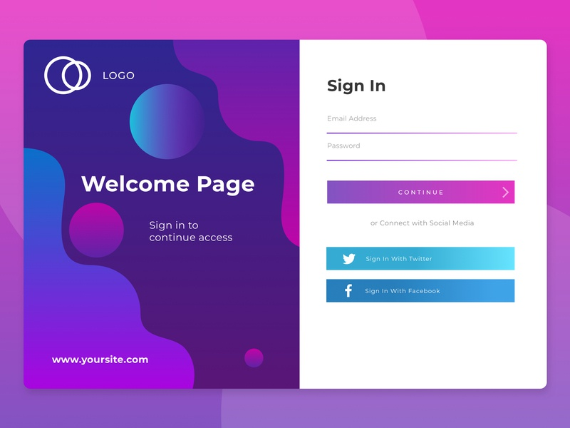 Exploration Abstract Login Page design vector illustration apps web ui