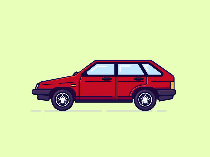 Lada Nine 2109 retro russian illustration car