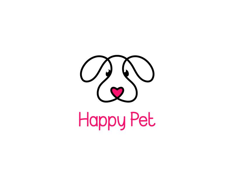 Happy Pet vector logo cute puppy animal pet
