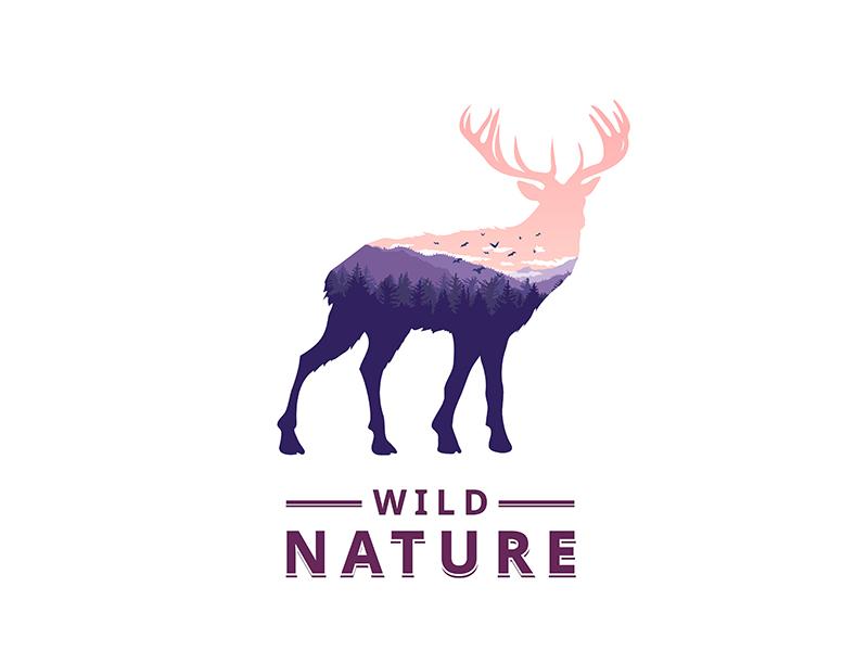 Deer double-exposure animal vector nature deer