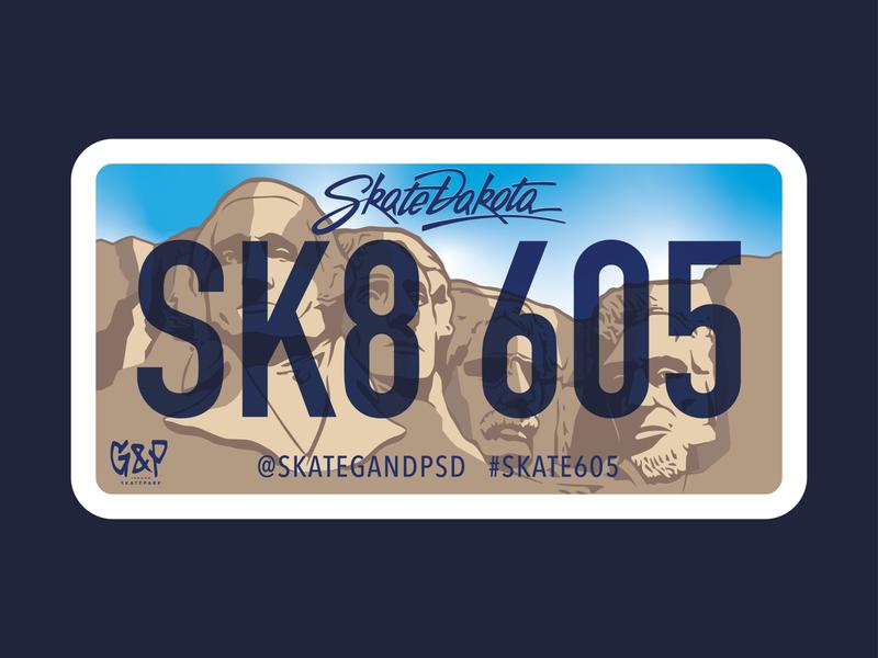 SK8 605 license plate mt. rushmore skateboarding skateboard graphics design vector illustration