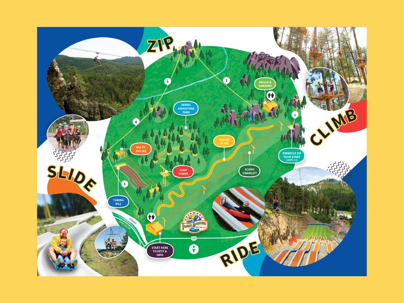 Map Illustration for Adventure Park brochure layout trifold brochure graphicdesign isometric map vector illustration illustrator adventure