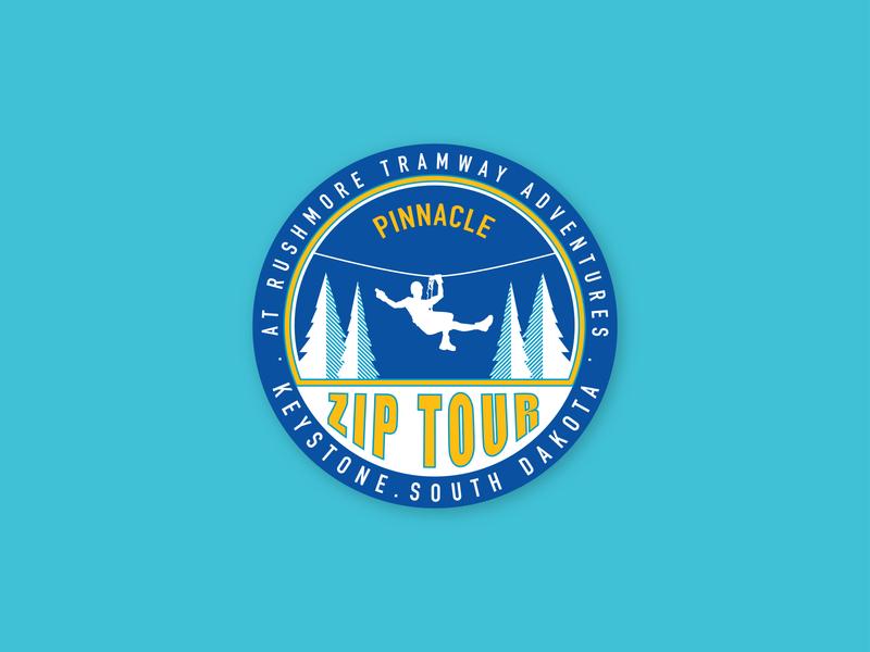 Pinnacle Zip Tour Sticker halftone vector illustration graphic design adventure sticker icon logo design aerial park