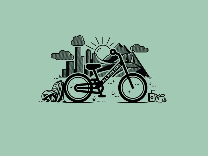 All Kids Bike Illustration illustrator illustration design bicycle school shirt design kids bike halftone shirtdesign graphicdesign vector illustration