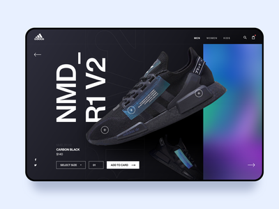 Adidas NMD_R1 V2 2020 trends product design web website design footwear store e-comerce ecomerce nike adidas shoe store shop sneaker sneakers