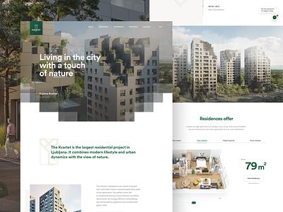KVARTET Website homepage web webdesigns ux design ui design ui ux slovenia buildings design webdesign kvartet apartments developer architecture residential