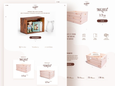 Wooden crates eshop homepage box grid crate wood ux ui webdesign page landing