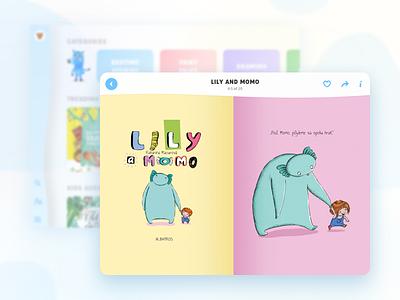Kids app illustration ux iu ios reading storie kid book tales faity tablet app