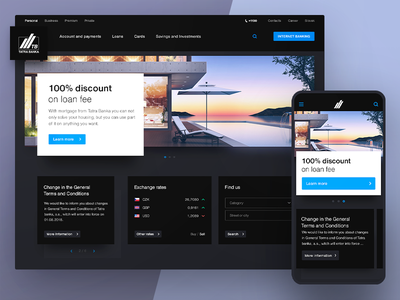 Tatra Banka Homepage ui ux banking bank homepage dark web webdesign