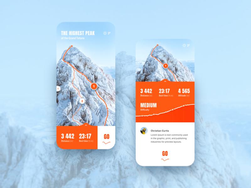 AR - Concept app (Climbing) hiking climbing augmentedreality reality augmented ar app ui ux