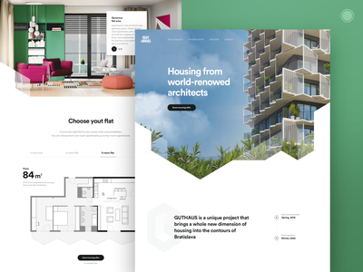 Residential project Homepage apartments flats housing residential architecture developer building guthaus grid homepage design web style ux ui webdesign