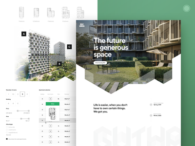 Residential project housing architecture developer apartment flats grid design style webdesign web ui ux