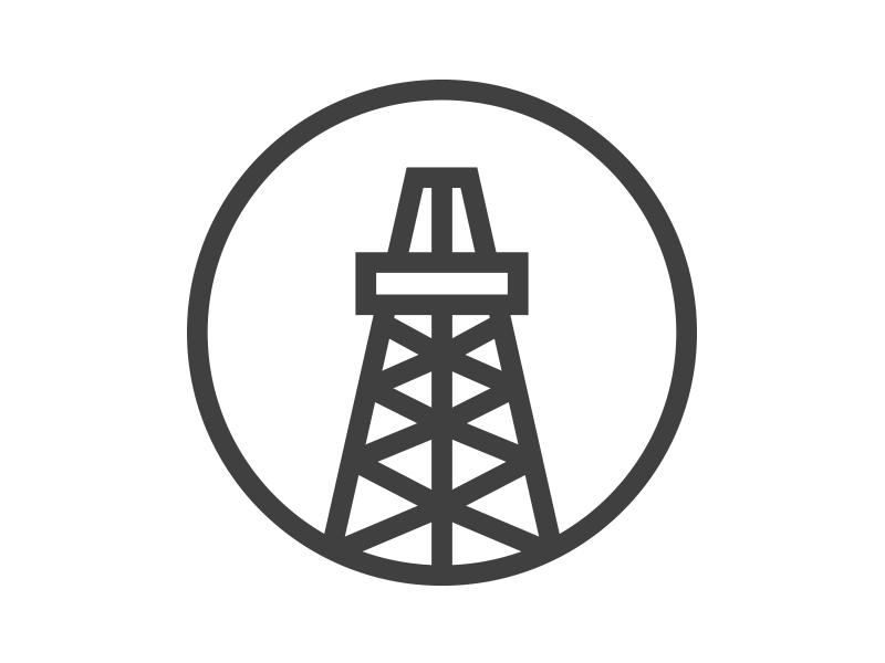 1195389 Oil Rig Logo on simple gear cartoon