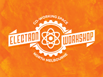 Electron Workshop logo ribbons atom science co-work melbourne