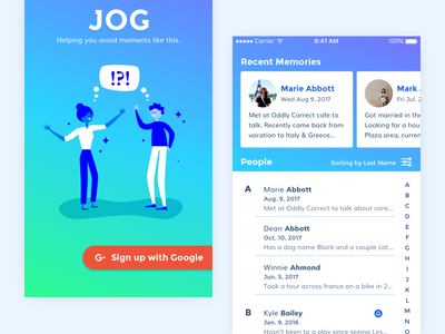Introducing Jog jog my memory writing notes people meaningful personal details greeting hello conversations friendship google authentication mobile
