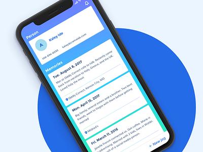 Jog – Profile friendship conversation people blue gradient memories dates profile notes details mobile