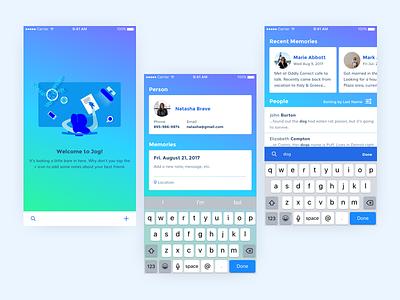 Jog – UI empty state illustration keyboard photo profile search keyword dates notes memory jog