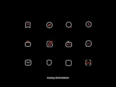 Iconly Animation P2 design logomotion iconmotion black branding motion graphics graphic design ui animation iconset icons iconpack iconography icondesign icon
