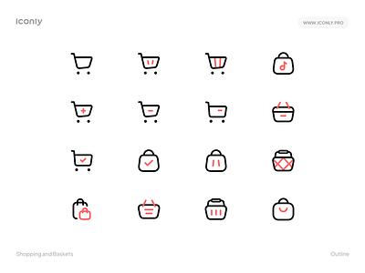 Iconly Pro | Shopping and Baskets 🛍 🛒 bundle pack pro ux ui design illustration iconly flaticon shopping basket shop iconset icons iconpack iconography icondesign icon