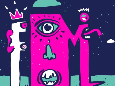 Exquisite Monsters fluorescent magenta screen printed monsters