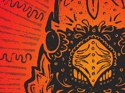 Sugar Skull Cardinal sugar skull screen printing texture halftones cardinal